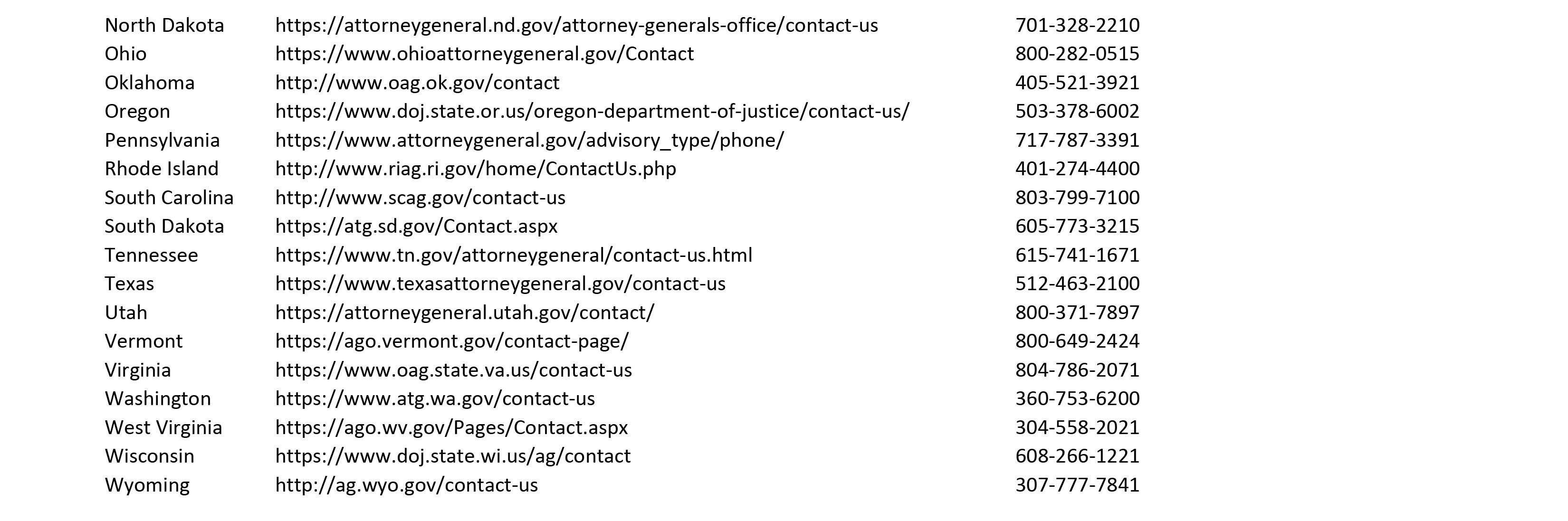 Attorney General Contact Information-2